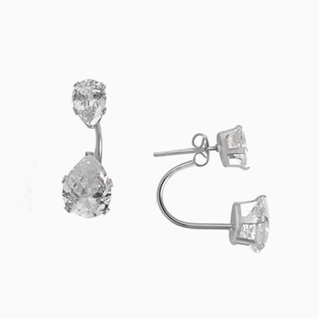 Teardrop Diamond Ear Jacket (Silver)