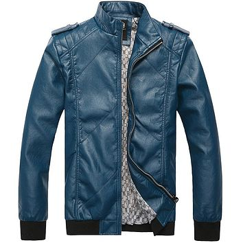Excellent Stand Collar Slim Fit Leather Jackets Men