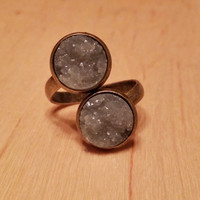 Double 12mm faux druzy ring (you pick color)