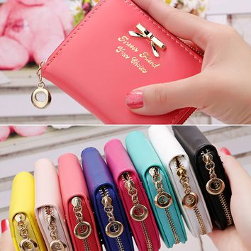 Women PU Leather Small Wallet Credit ID Card Holder Pocket Wallet Zip Coin Purse