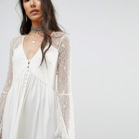 Kiss The Sky Tall Button Front Smock Dress With Lace Panels at asos.com