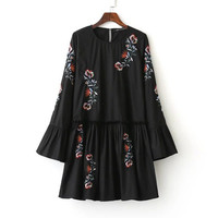 Black Flared Sleeve Embroidery Poplin Short Dress