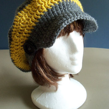 Crochet Slouchy Brim Hat- Visor Hat, Slouchy Hat for Women