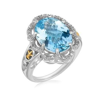 18K Yellow Gold and Sterling Silver Ring with Blue Topaz and Diamonds, size 9