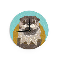 "Art Love Passion ""Otter in Water"" Blue Brown Wall Clock"
