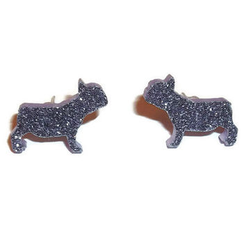 Glitter French Bulldog Earrings, Pastel Lilac Light Purple Dog Stud Earrings, Animal Jewelry, Kawaii Cute Quirky