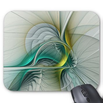 Fractal Evolution, Golden Turquoise Abstract Art Mouse Pad
