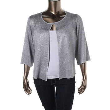 Alfani Womens Plus Sequined 3/4 Sleeves Cardigan Sweater