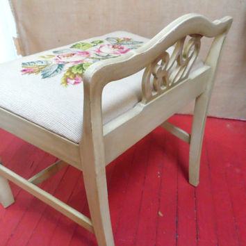 Grey Gray Needlepoint Vanity Bench Seat Low Back Chair Stool Carved