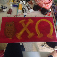Chi Omega Sorority 8x16 owl painting