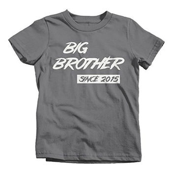 Shirts By Sarah Boy's Big Brother Since 2015 Personalized T-Shirt Brother Promoted To