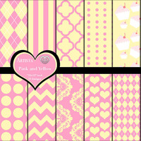 Pink and Yellow Digital Paper Pack Scrapbook Crafts Paper Premade Pages