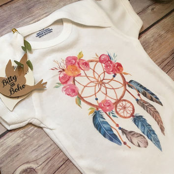 Dream Catcher Baby Onesuit®, Dreamcatcher Onesuit, Baby Shower Gift, Baby Girl Clothes, Boho Baby Clothes, Baby Girl Gift, Little Dreamer Baby