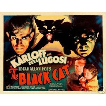 THE Black CAT Movie Poster Boris Karloff Rare Vintage 3