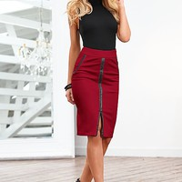 WHITE Mock neck top, faux leather trim midi skirt, strappy heel from VENUS