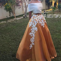 New Elegant Floor-Length Prom Dresses Two Pieces Appliques Design Evening Dresses Off the Shoulder Satin Party Gowns Vestidos