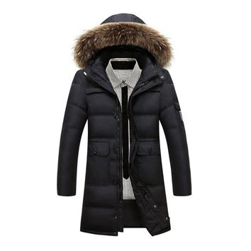 winter men's warm and thick clothing 90% white duck down middle length long coats attachable hood with fur collar