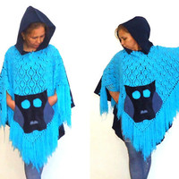 SALE %50  Blue Crochet Poncho  Wool Fabric With  Acrylic Crochet Yarn ,Owl  Pockets ,Navy Blue Fringe Hooded Fall Winter Cape Sweater .