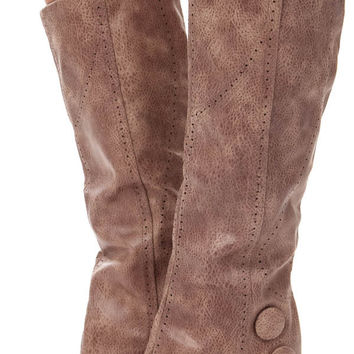 Taupe Overlay Wedge Button Boot