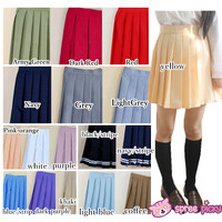 [XS-4XL] 21 Colors Pastel Macarons Uniform Seifuku Pleated Skirt SP151805