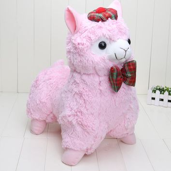 55cm Pink Alpacasso Stuffed Plush Alpaca with Bowtie