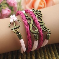 Love Anchor Braid Infinity 5 Layers Pink and Red Handmade MultiLayered Bracelet BDP0529