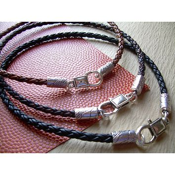 Leather Necklace - Premium Braided Leather with Lobster Clasp, Mens Necklace, Womens Necklace
