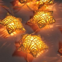 20 WHITE STAR RATTAN STRING PARTY,PATIO,FAIRY,DECOR,CHRISTMAS,WEDDING LIGHTS