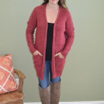 Either Will Do Pocket Cardigan: Marsala