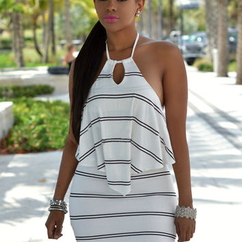White Keyhole Front Backless Striped Mini Dress