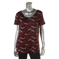 NY Collection Womens Matte Jersey Chevron Pullover Top
