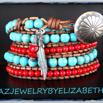 Native American, Southwestern Jewelry, Turquoise Wrap, Men's Bracelet, Tribal Bracelet, Wrap Bracelet, Leather Bracelet, Beaded Leather.*