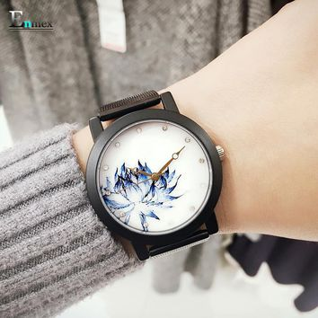 2017 lady gift Enmex black case Lotus chinese style original design Oriental Graceful Underglaze blue fashion quartz watches