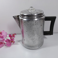 Antique aluminum coffee or tea maker, steamer.serving, kitchen tool, camping, kitchen aid, lifetime steamer