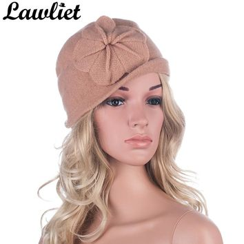 Winter Women Hats Beanies Cloche Ladies Wool Cap Bucket Floral Warm Hats for Women Bonnet Femme Skullies Beanies Female Cap A289