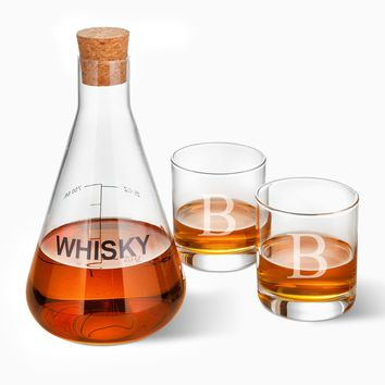 Whiskey Decanter in Wood Crate with 2 Glasses