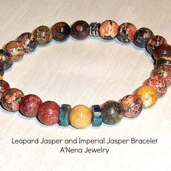 Mens Bracelet Genuine Leopard Jasper and Imperial Jasper