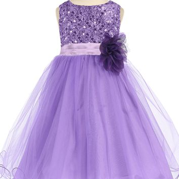 Girls Lavender Sequin Party Dress w. Lettuce Tulle Hem 2T-14