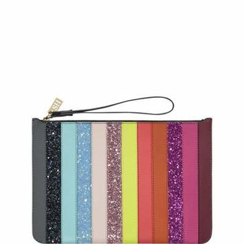 Sophie Hulme Talbot Striped Zip Pouch Bag, Rainbow Glitter