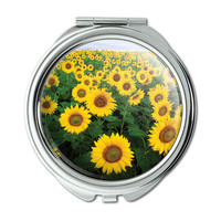 Field of Sunflowers Compact Purse Mirror