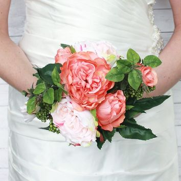 "Rose Silk Wedding Bouquet in Peach Blush12"" Tall"