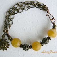 Yellow Frosted Agate Beads Sunny Bracelet