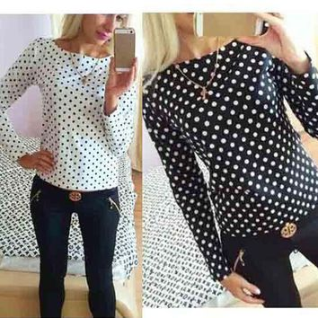 2017 New Summer Woman Shirt  Fashion Long sleeved shirt Chiffon Round Collar shirt Polka Dot Blouse