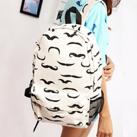 Moustache White Canvas Backpack