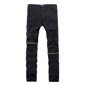Slim fit knee zipper design hole casual jeans stretch moto biker denim trousers Mens Skinny ripped Jeans Brand Cotton Pants
