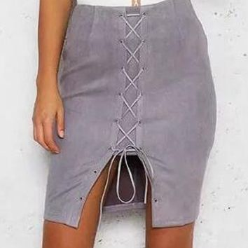 Gray Faux Suede High Waist Lace Up Front Pencil Skirt