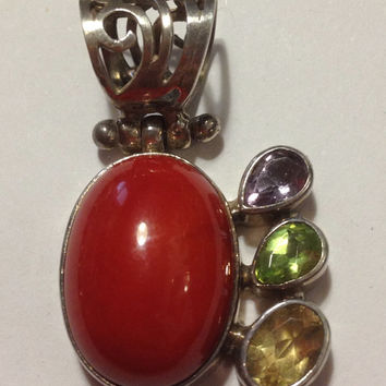 Coral Amethyst Citrine Peridot Pendant Sterling Silver Red Purple Yellow Green 925 Enhancer Slide Vintage Gemstone Jewelry Gift Genuine