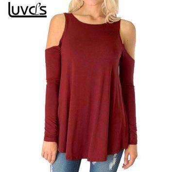 LUVCLS Women Tops Sexy Off Shoulder Long Sleeve T-shirts Pleated Swing Hem Black Top 2018 Casual Female Tee Tops Plus Size