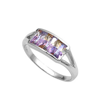 925 Sterling Silver CZ Three Stones Princess Cut Rainbow Ring 8MM