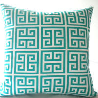 Indoor/outdoor teal pillow cover, fabric both sides, all sizes available